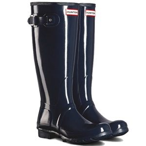 Hunter Women's Original Tall Gloss Rain Boots Navy